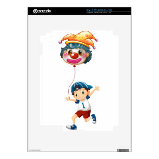 A boy holding a clown balloon decals for the iPad 2
