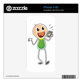 A boy holding a radio decal for the iPhone 4