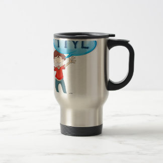 a boy in a red uniform at the soccer field 15 oz stainless steel travel mug