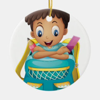 A boy inside a schoolbag Double-Sided ceramic round christmas ornament