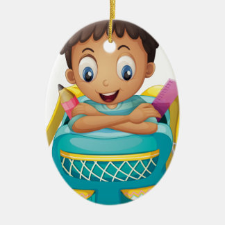 A boy inside a schoolbag Double-Sided oval ceramic christmas ornament