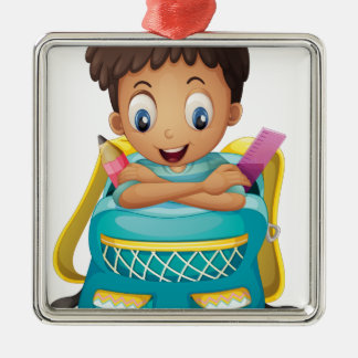 A boy inside a schoolbag square metal christmas ornament