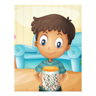 A boy inside the house with a jar of candies letterhead