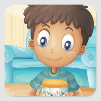 A boy inside the house with a jar of candies square sticker