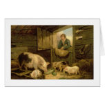 A Boy Looking into a Pig Sty, 1794 (oil on canvas) Card