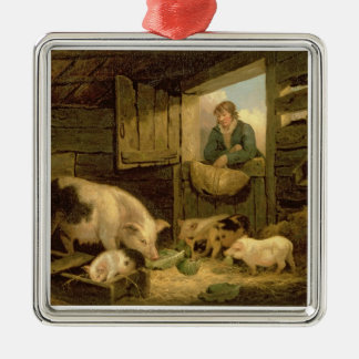 A Boy Looking into a Pig Sty, 1794 (oil on canvas) Square Metal Christmas Ornament