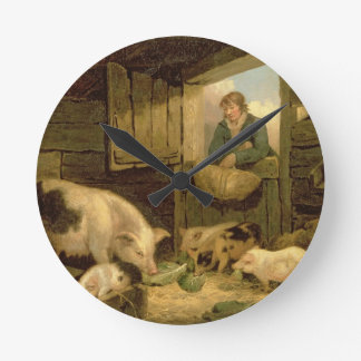 A Boy Looking into a Pig Sty, 1794 (oil on canvas) Round Clock