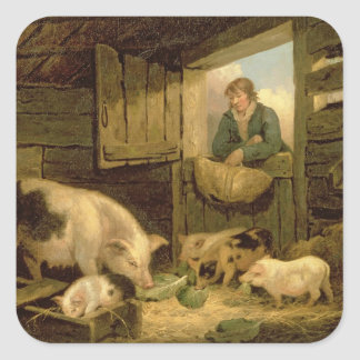 A Boy Looking into a Pig Sty, 1794 (oil on canvas) Square Sticker
