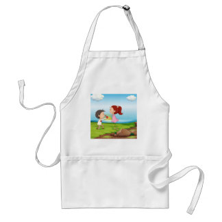 A boy making a marriage proposal at the riverbank adult apron