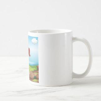 A boy making a marriage proposal at the riverbank coffee mug