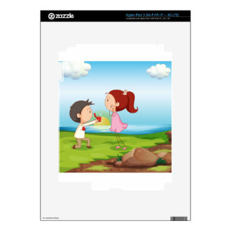 A boy making a marriage proposal at the riverbank iPad 3 skin