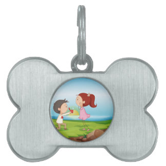 A boy making a marriage proposal at the riverbank pet name tags