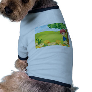 A boy playing at the mountain doggie tshirt