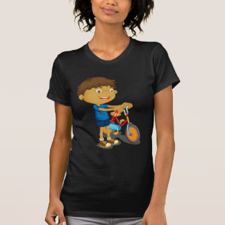 a boy playing bicycle T-Shirt