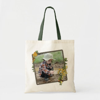 A boy playing in a puddle green Tote Canvas Bag
