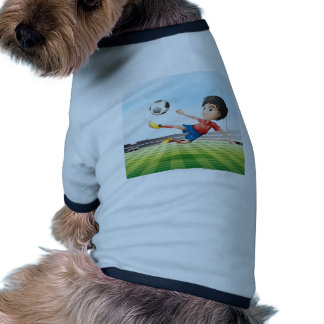 A boy playing soccer in the soccer field pet tee