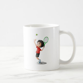 A boy playing tennis classic white coffee mug