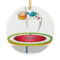 A boy playing trampoline ceramic ornament
