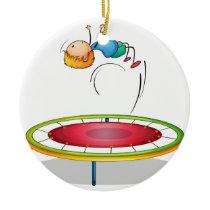 A boy playing trampoline ceramic ornament