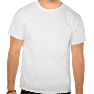 A boy puts a greeting into the hole in a tree t shirt
