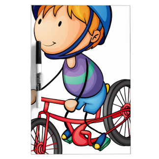 a boy riding on a bicycle Dry-Erase board