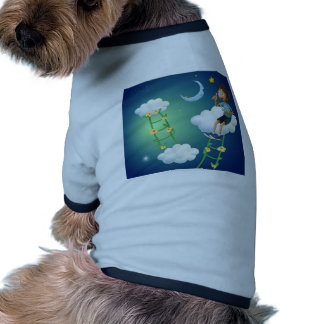 A boy sitting at the cloud doggie tee shirt