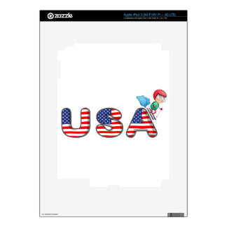 A boy skiing with the USA symbol iPad 3 Decal