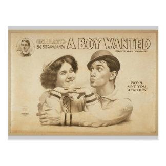 A Boy Wanted Girl, 'Boy's Ain't you Jealous' Postcard