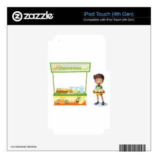 A boy with a stall of refreshing drinks iPod touch 4G skin