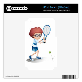 A boy with an eyeglass playing tennis iPod touch 4G skins