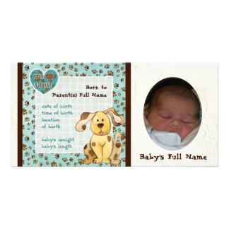 A Boy's Best Friend Photo Birth Announcement Photo Card