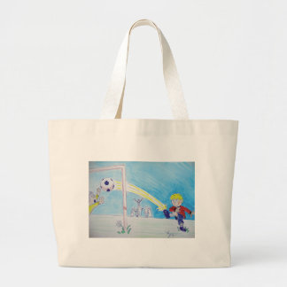 A boy's first goal playing football canvas bags
