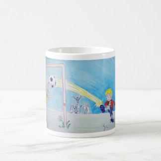 A boy's first goal playing football classic white coffee mug