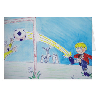 A boy's first goal playing football greeting card