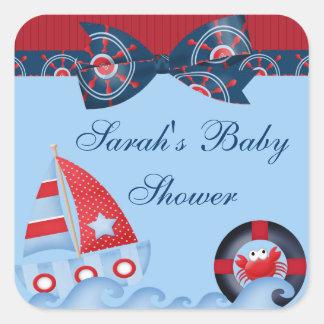 A Boys Sea Life Baby Shower Square Sticker