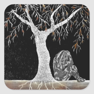 A Branch of Life to Contemplate Square Sticker
