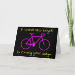 "[ Thumbnail: ""A Brand New Bicycle Is Coming Your Way..."" Card ]"