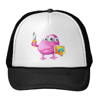 A brave beanie monster with a sword and a shield trucker hat