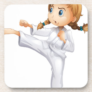 A brave girl doing karate coasters