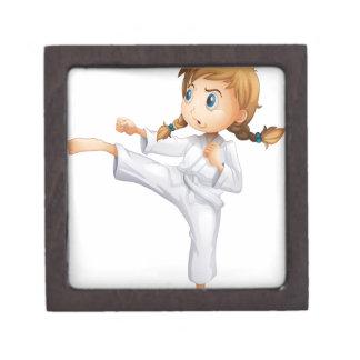 A brave girl doing karate premium jewelry box