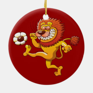 A Brave Lion's the Top Scorer of the Soccer League Ceramic Ornament