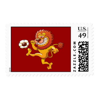 A Brave Lion's the Top Scorer of the Soccer League Stamp