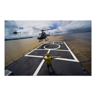 A Brazilian Eurocopter prepares to land Poster