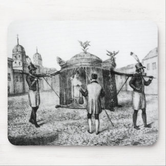 A Brazilian Sedan Chair and a Person Begging Mouse Pad