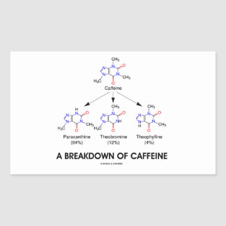 A Breakdown Of Caffeine (Caffeine Metabolites) Rectangular Sticker