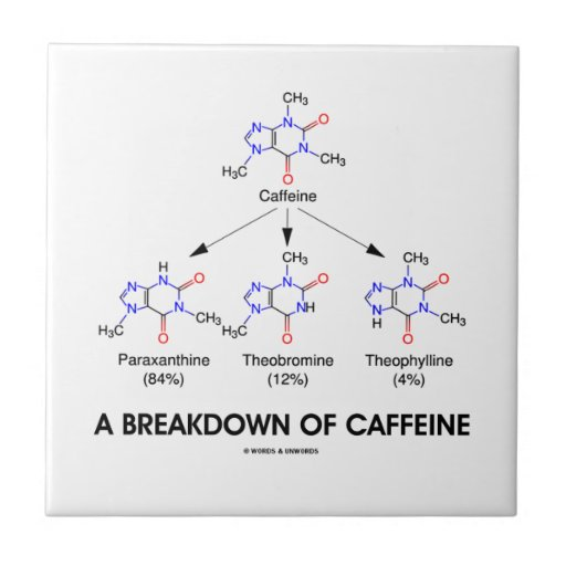 A Breakdown Of Caffeine (Caffeine Metabolites) Ceramic Tiles