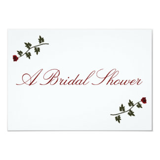 """""""A Bridal Shower"""" - Two Red Long Stem Roses 3.5x5 Paper Invitation Card"""
