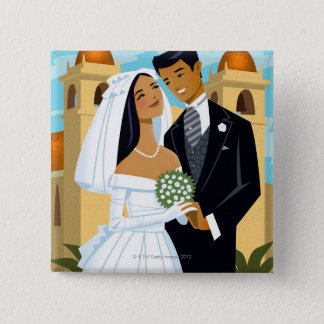 A Bride and Groom Button