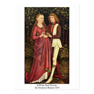 A Bride And Groom By Swabian Master 1470 Postcard
