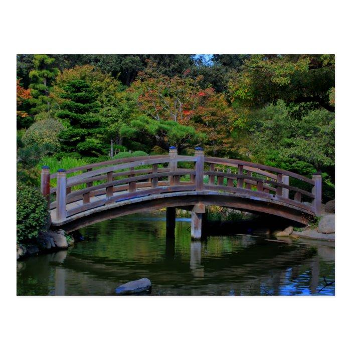 A bridge in a Japanese Garden, postcard